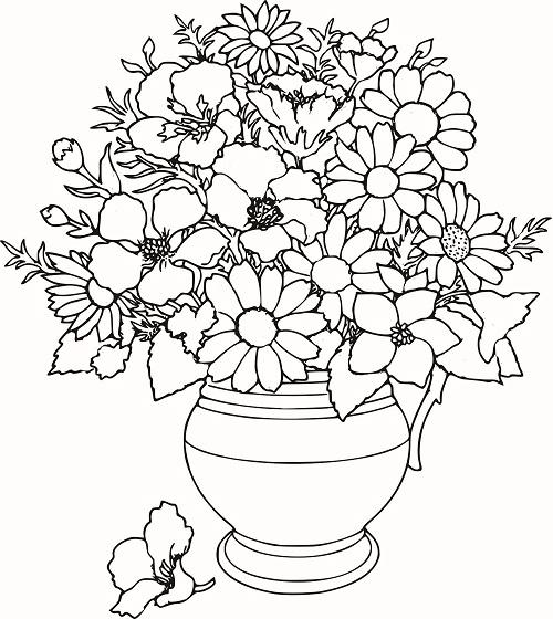 Раскраски букет цветов картинки