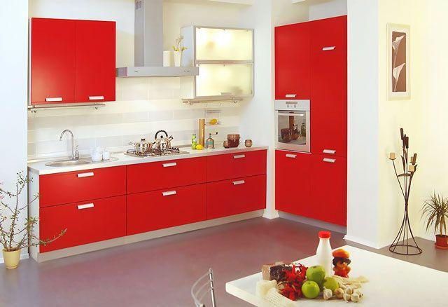Кухни цвет красный фото