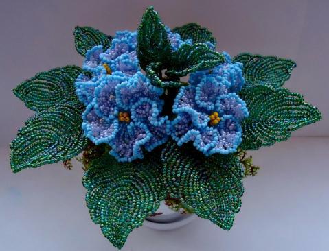 Цветы из бисера пошаговое фото