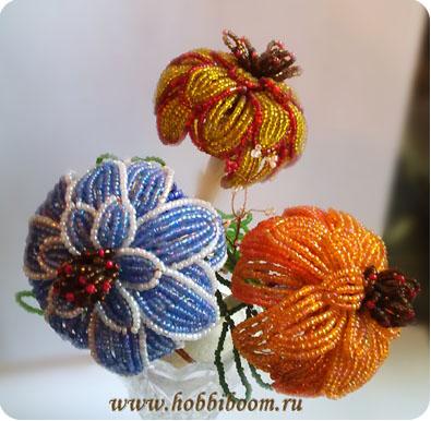 Цветы из бисера схемы фото 10
