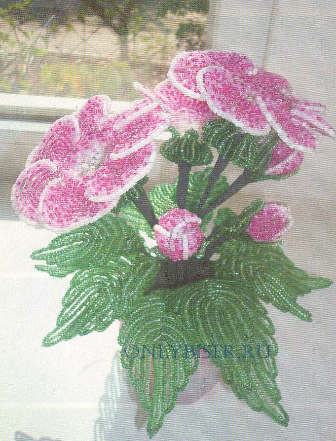Цветы из бисера схемы фото 7