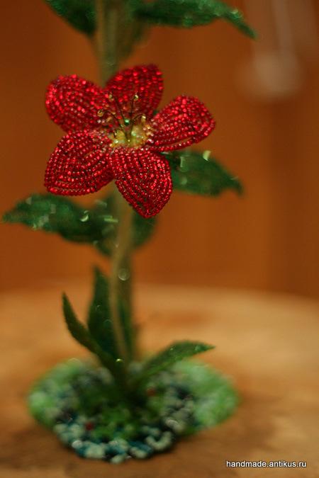 Цветы из бисера схемы фото 8