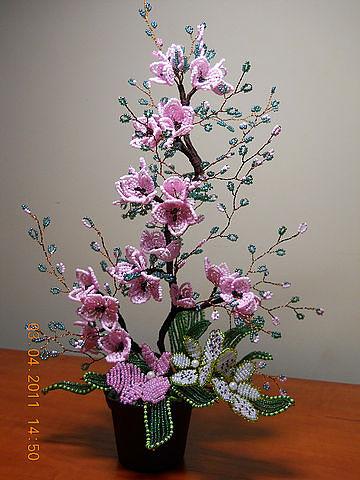 Цветы из бисера схемы фото 9