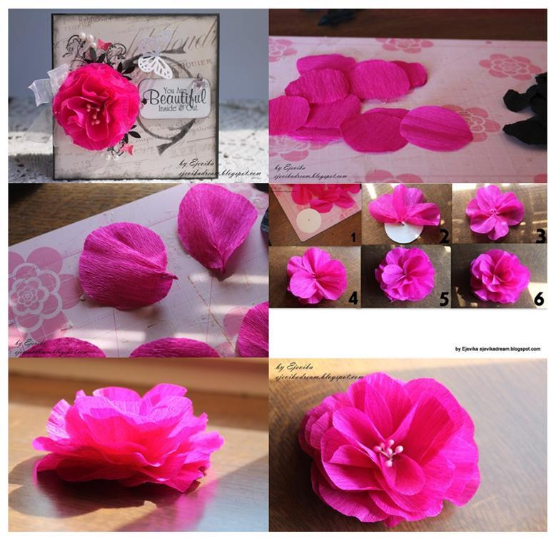 Объёмный цветок из гофрированной бумаги своими руками пошаговое