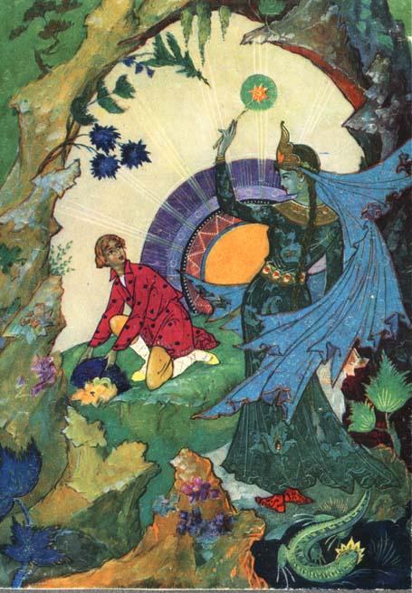 палехская иллюстрация медной горы хозяйка расположен лесу