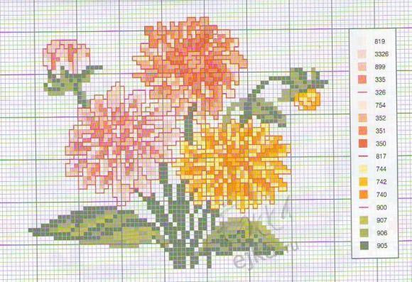вышивка крестиком цветы 3