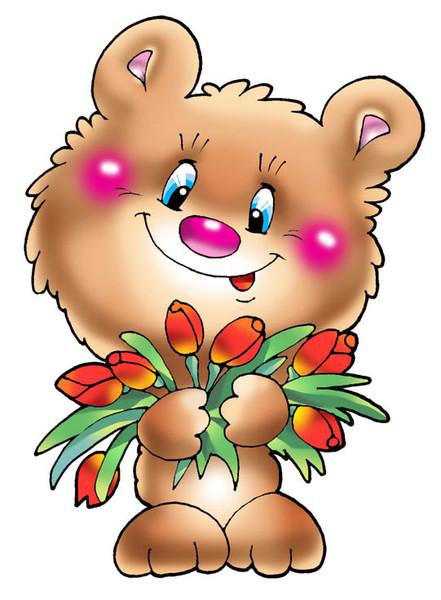 Мишка с цветами рисунок