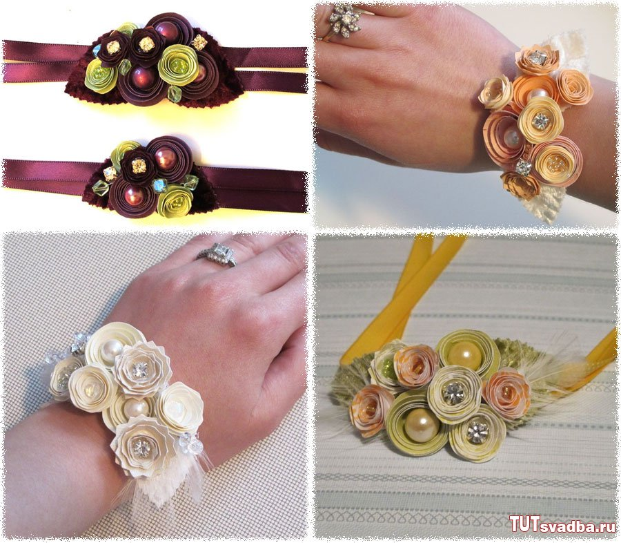 Как сделать браслет на свадьбу цветы