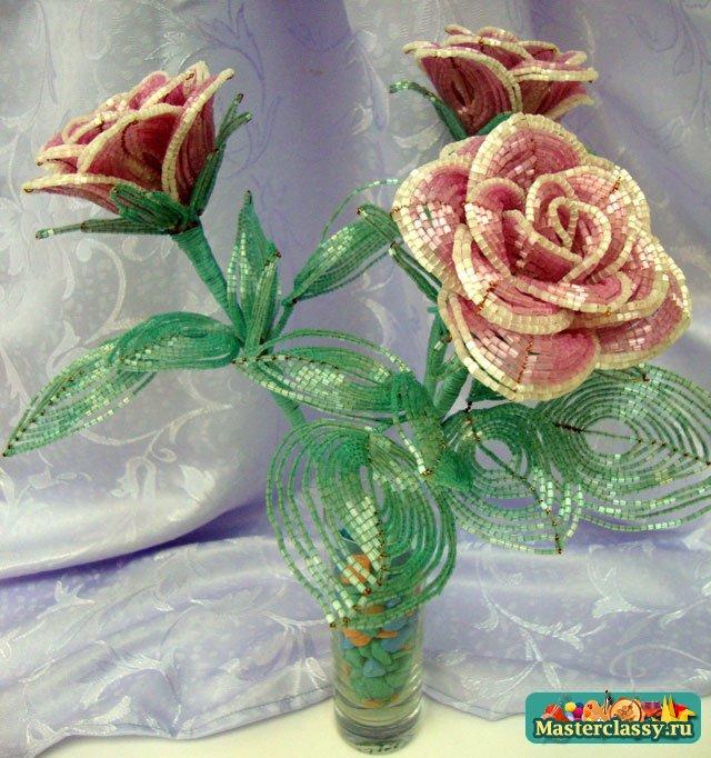 Как сплести розу из бисера