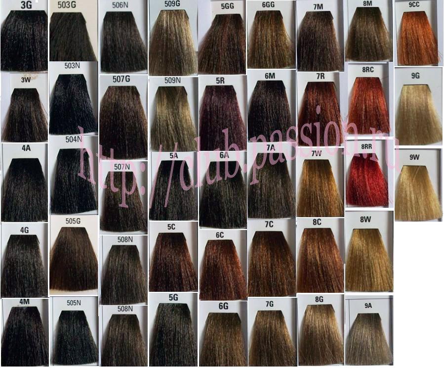 Краска для волос палитра цветов