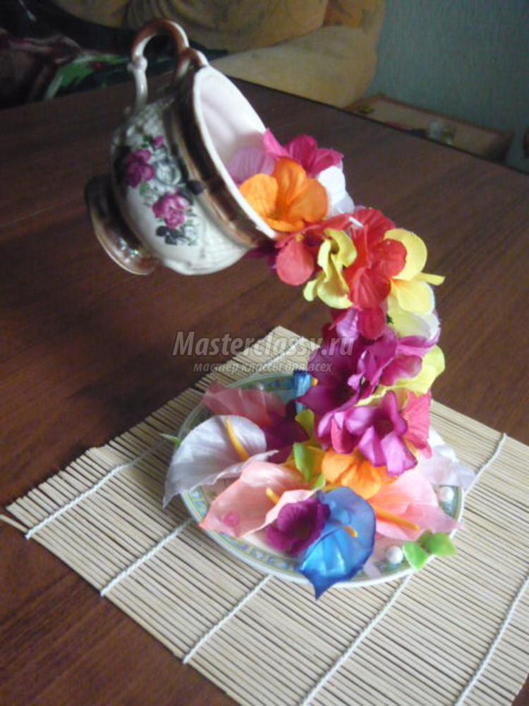 Парящая чашка с цветами мастер класс с