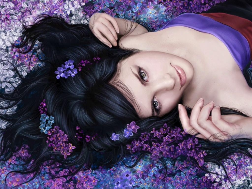 картинки девушек брюнеток с цветами: