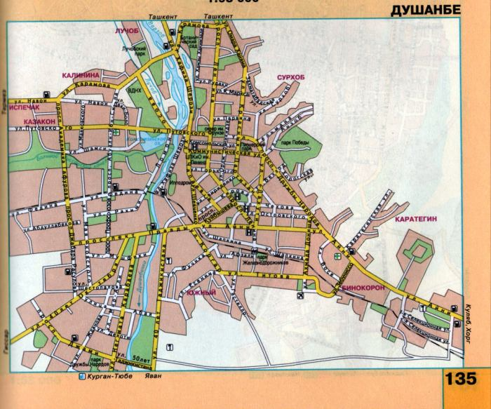 Карта Душанбе подробная: районы, названия улиц, номера домов