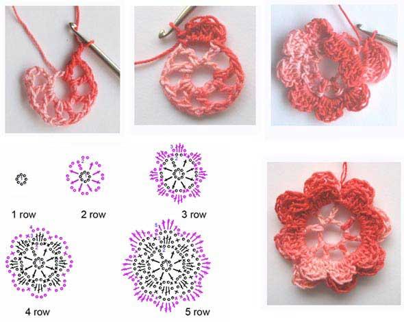 Цветы крючком схемы фото 7