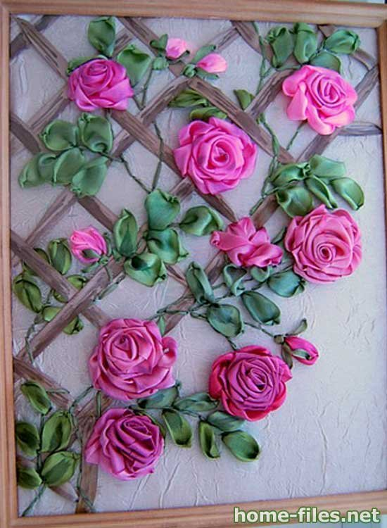 Вышивка лентами цветы схемы