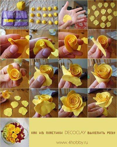 Лепка из полимерной глины - розы, мастер класс в картинках / Лепка.