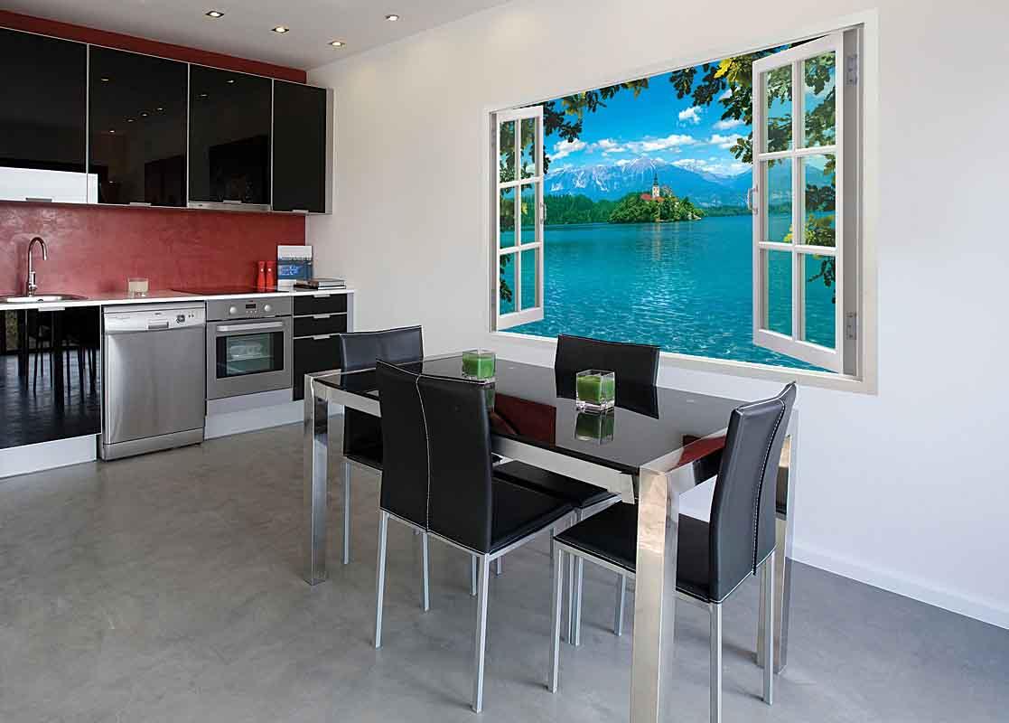 Фотообои в интерьере фото на кухню