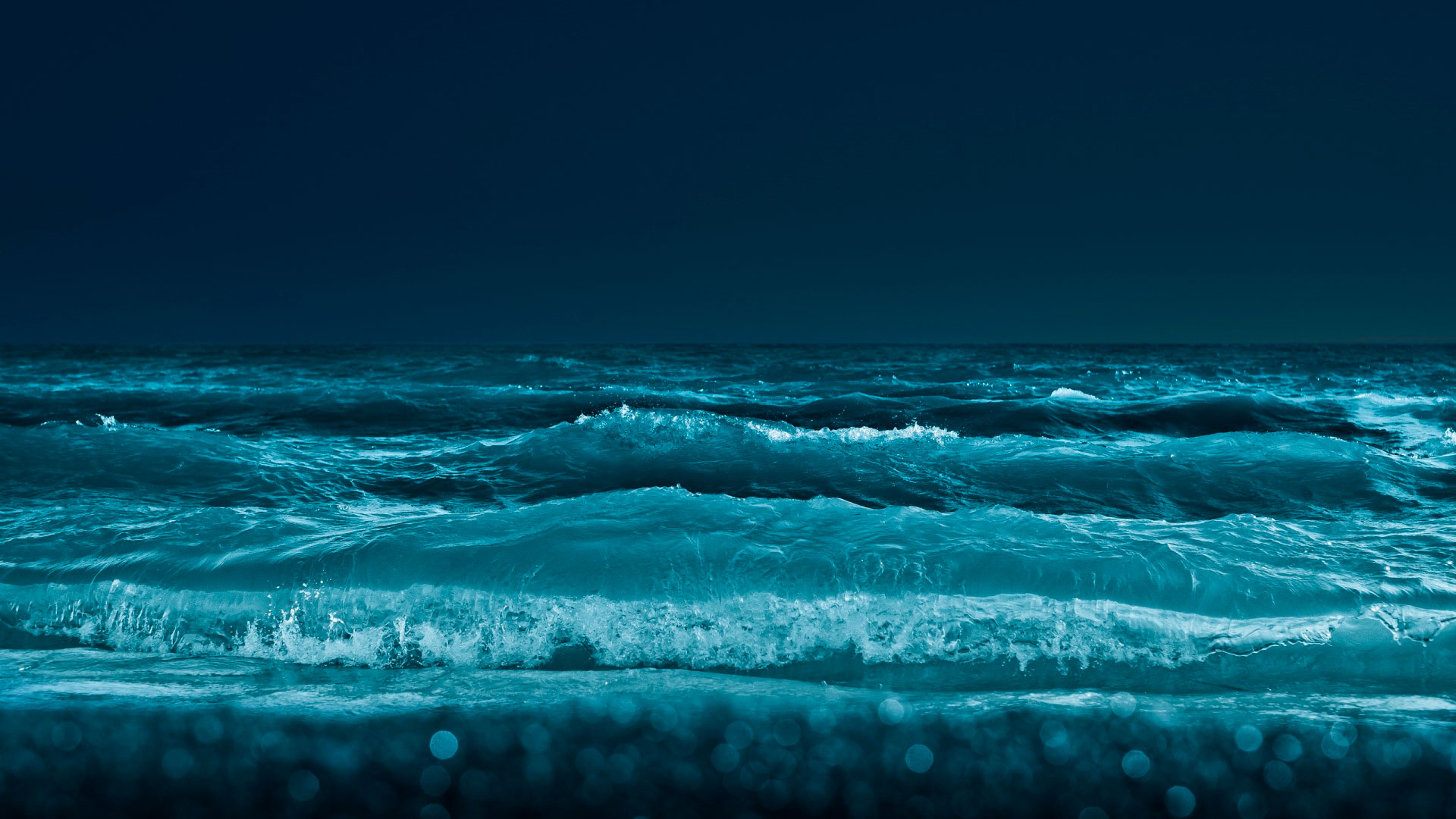 Обои  море ночь север северное сияние горы небо!