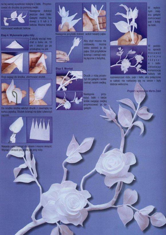 Как сделать цветы из бумаги из белой бумаги