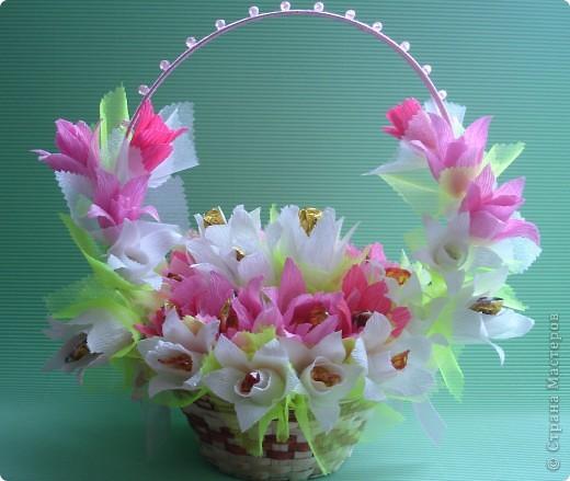 Корзина с цветами и конфетами своими руками фото