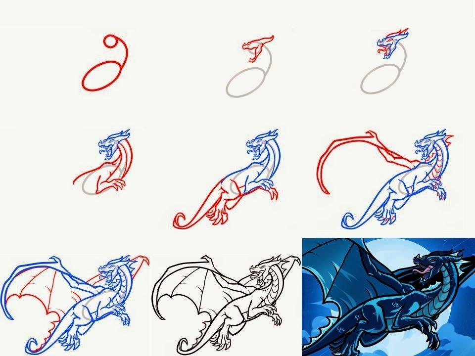 Рисунки драконов поэтапно для начинающих
