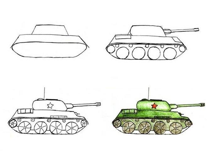 Нарисовать танк поэтапно для начинающих
