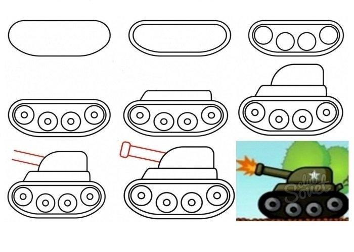 Рисуем детям поэтапно танк