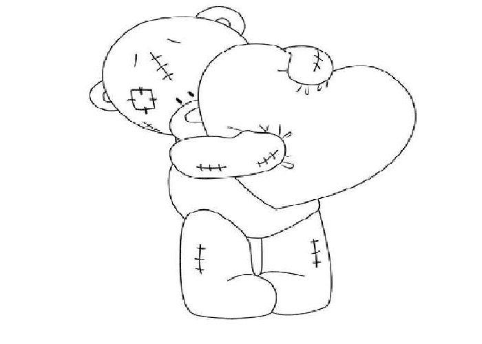 мишка тедди с сердечком рисунок