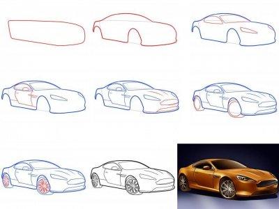 Как нарисовать машину поэтапно карандашом