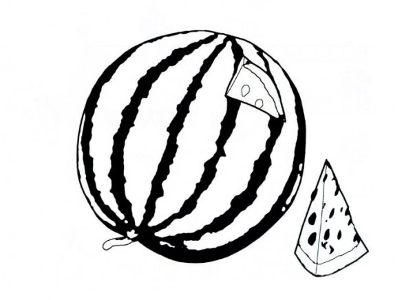 Арбуз раскраска » DreemPics.com - картинки и рисунки на ...